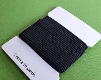 10 Yards Black Cord 2mm Stretch Elastic Rubber And Nylon Card