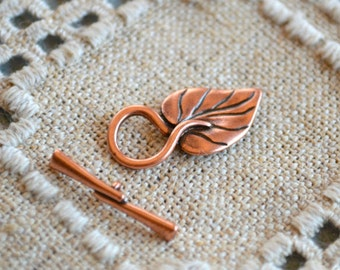 Clasp Antiqued Copper Plated Pewter Toggle 26.5x13mm Leaf Hidden Loop