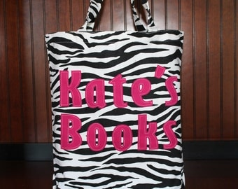 Personalized Library Tote, Personalized Tote Bag, Library Book Tote, Personalized Zebra Print Tote Bag