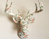 Rifle Paper Co Floral White Deer Head Wall Mount Faux Taxidermy