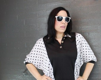 SALE Vintage 80s Black and White Polka Dot Polo Tee shirt by Catalina