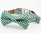Bow Tie Dog Collar - Green Gingham