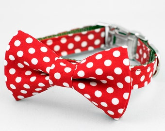 Bow Tie Dog Collar - Red Polka Dot