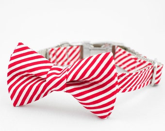Bow Tie Dog Collar - Red and White Stripe