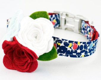 Dog Flower Collar - Blue and Red Floral