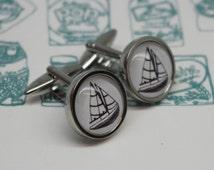 Sailing Boat Cufflinks - Boat cufflinks - Gifts for sailors - Nautical Cufflinks - Seaside cufflinks - Valentines Day cufflinks
