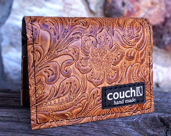 Light Brown Western Slim Wallet, Slimline I Card Wallet Pattern
