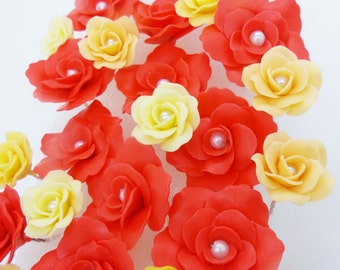 Miniature Roses Handcrafted Polymer Clay Art, assorted, 24 pieces