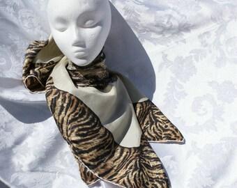 Vintage Scarf Tiger Print Silk Scarf with Emerald Eyes Vintage 80's Fashion Accessory Animal Print Head Wrap