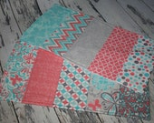 Set of 2 Modern Quilted 3-Layer Burp Cloths.Aqua.Coral.Gray.Grey.White.Chevron.Dots.Cotton.Flannel.