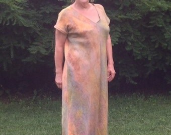 Shibori dyed linen gauze maxi dress