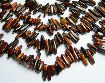 Red Tiger eyes stick beads - full strand -  85 beads - PSC98