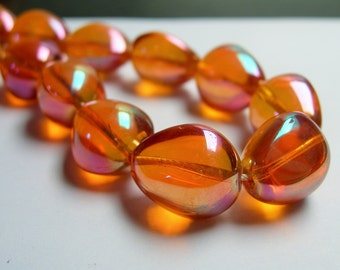 Crystal nugget - 18 pcs - 17mm x 14mm - tear drop nugget -  dark tangerine - ab - CRV41