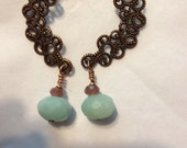 "EARRINGS, COPPER, AMAZONITE, Dangle 2-1/2"" - Filigree, Firepolish Rondelle, Copper Earwires"