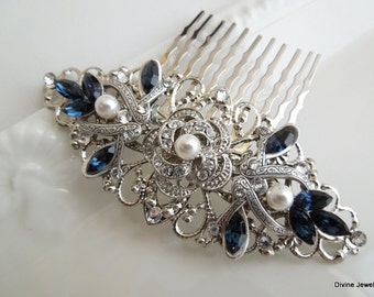 Pearl Bridal Rhinestone Hair Comb Wedding Rhinestone Hair Comb vintage style leaf Rhinestone Hair Comb Something Blue Hair Comb ROSELANI
