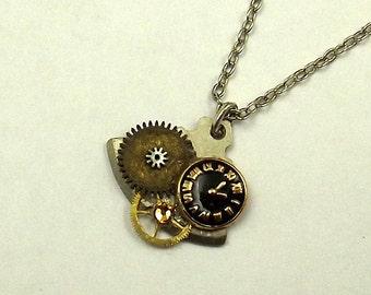 Steampunk Watch Face Gear Necklace