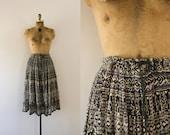 1970s Fields Of Grain indian cotton summer skirt  / 70s bohemian