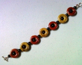 Red, Tan and Black Bracelet (1260)