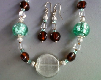 Brown, Seafoam Green and Crystal Glass Necklace and Earrings (0039)