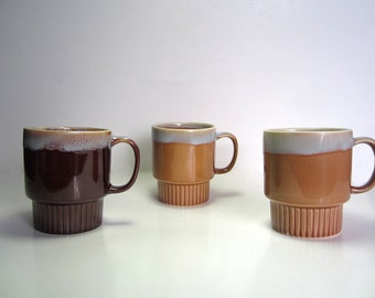 1970s Festival Stoneware Mugs - Made in China - Set of 3 in two colours