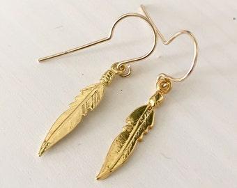 Feather earrings / vermeil feather earrings / boho chic feather earrings