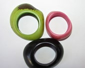 One Each Pink, Black, Lime, Tagua Nut Rounded Rings, Donuts, Natural Beads, Eco Friendly Beads, EcoBeads