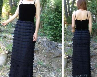 BIRKIN style 70s does 20s French vtg black velvet and fringes maxi dress black