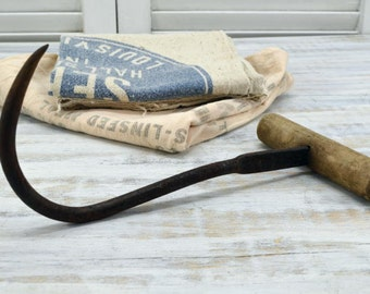 Old Farm Hay Hook - primitive and rustic farm tool - Vintage Barn Tool
