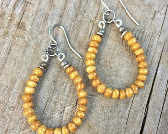 Yellow Boho Hoop Earrings, Mustard Yellow Jewelry
