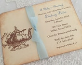 Boy Tea Party Baby Invitation Baby is Brewing Teapot Invite Blue Ribbon Set of 10