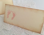 Pink Footprint Placecards Place Cards Food Buffet Candy Bar Signs Set of 10