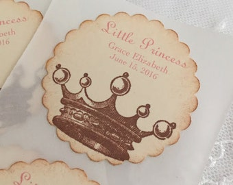 Princess Crown Stickers Baby Shower Birthday Envelope Seals Pink Set of 10