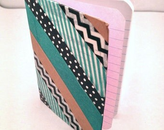 Small Washi Tape Notebook with Multiple Pattern Stripes