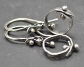 Sterling Hoops Earrings, Silver Hammered Hoop Earrings, Riveted  Pinned Earrings, Metalsmith Jewelry