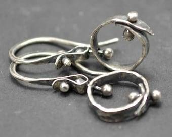 Hoop Earrings, Sterling Earrings, Pinned Earrings, Metalsmith Jewelry