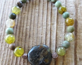 Green and Brown Jasper and Dragon's Vein Agate Beaded Bracelet