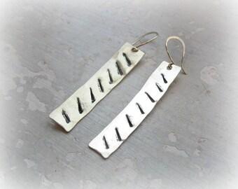 Long Brass Earrings, Gold Bar Earrings, Metalwork Jewelry, Textured Earrings, Dangle Earrings, Stamped Earrings, Hammered Earrings