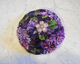 Fabric Flower in Lavender and purple with Novelty Button , Fashion Flower Accessory, Flower Pin, Flower Brooch