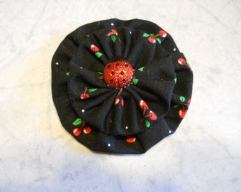 Small Fabric Flower Pin or Hair Clip in Black Cherry Fabric with Lady Bug Button