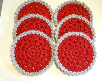 Coasters Set of 6 in Maroon and Light Gray