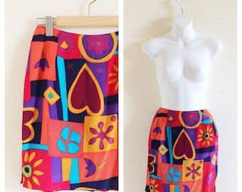 UNGARO 90s Multicolor Skirt- Silk, 2, Small, Abstract Avant Garde LOT 3