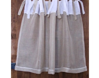 Linen Cafe Curtain, Custom Ecru White Curtain, New Home Gift, Kitchen Curtain, Cottage Decor