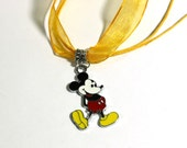 Yellow Necklace With classic Mickey Mouse Charm - boys necklace