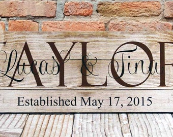 Custom Family Name Sign, Personalized Wood Plaque, Great Gift