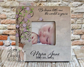 Be Brave Little One The World Is Yours Picture Frame, Shabby Chic Picture Frame, Baby Shower Gift, Nursery Picture Frame
