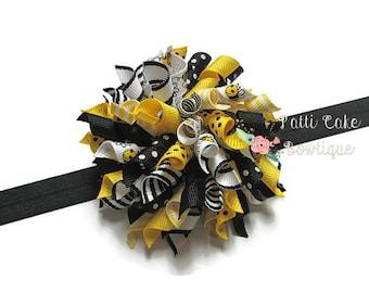 Crazy Bumble Bee Korker Hair Bow Headband, Black Headband, Toddler Hair Bow, Hair Bow Headband, Baby Girls Hair Bow, Korker Hair Clip, 809
