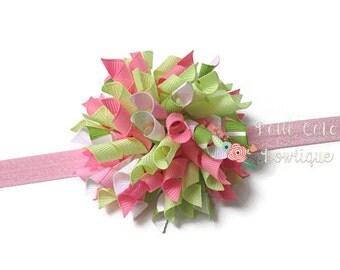 Sweet Serendipity Korker Hair Bow, Korker Bow on Shimmery Pink Headband, Korker Hair Clip, Girls Hair Bow, Toddler Hair Bow, Baby Bow, 809