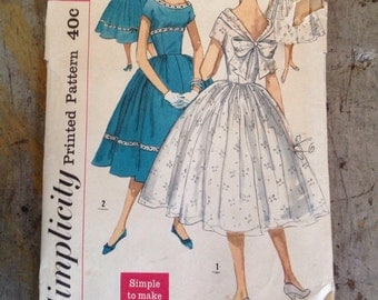 Vintage Simplicity 1910 Teen Junior Misses' One Piece Dress Sewing Pattern Size 12 Bust 32 Uncut