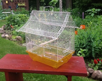 Vintage Birdcage, White and Yellow Birdcage, Wedding Decor Birdcage