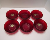 Vintage Royal Ruby Red Berry Bowls - Anchor Hocking Depression Glass - MINT Condition - 1939 - Set of 6